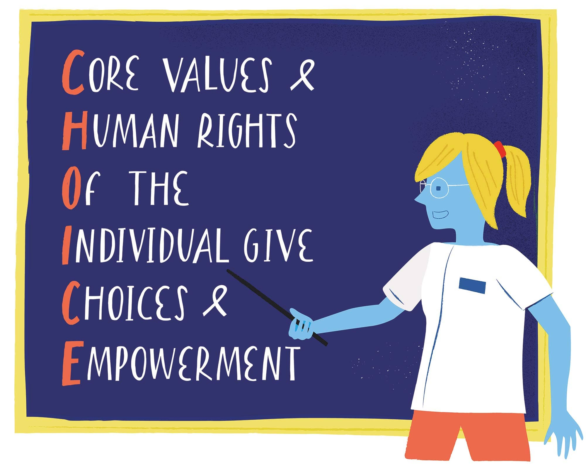 Infographic showing commitment to cor values, human rights, the individual, and choice